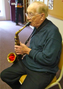 jack playing his sax - stewart hall
