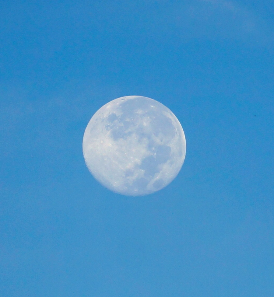 morning moon close up