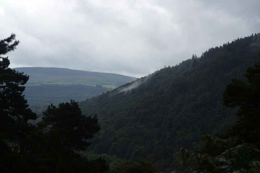 view from heading up a Glendalough Valley mountain