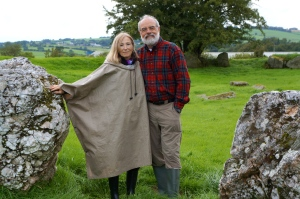 "Patricia in her ""frog-tog"" with Phil at the entrance to Castleruddery Stone Circle"