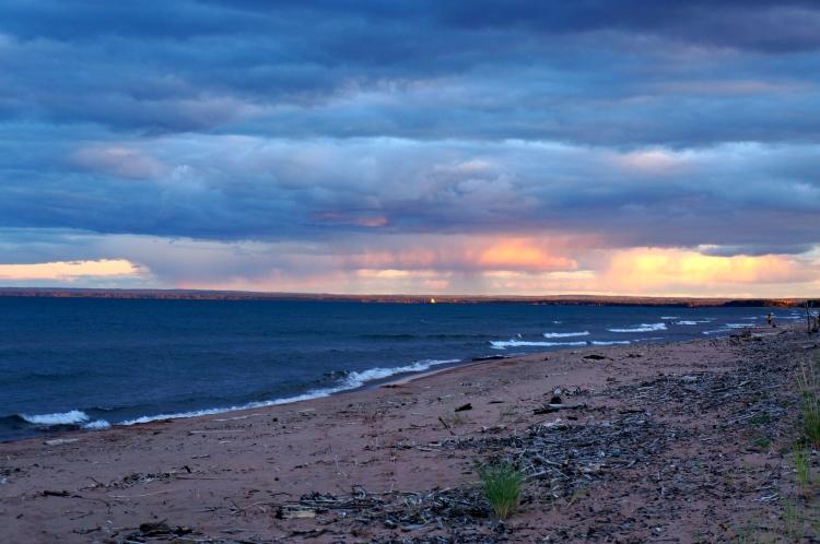light of the setting sun over Lake Superior
