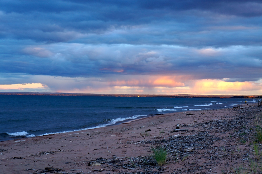 light of the setting sun over Lake Superior