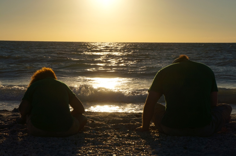 a couple looking for sharks teeth in the setting sun