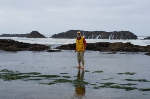 Phil's feet in the tidal waters of the Pacific