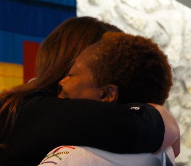 Angela hugging Karen who was the preacher at her ordination on Sunday, Nov 4