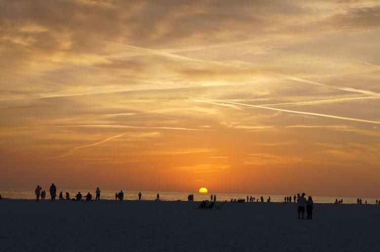 sunset at the Siesta beach labyrinth on February 19