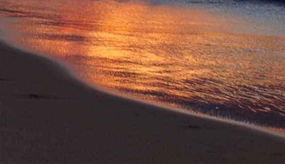 sand awash in the color of day's end - Cathead Beach - 11-06-2015 - Leelanau State Park