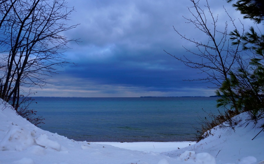 blue upon blue                              New Year's Day, 2016 -                              North Shore Road,            Northport, MI.jpg
