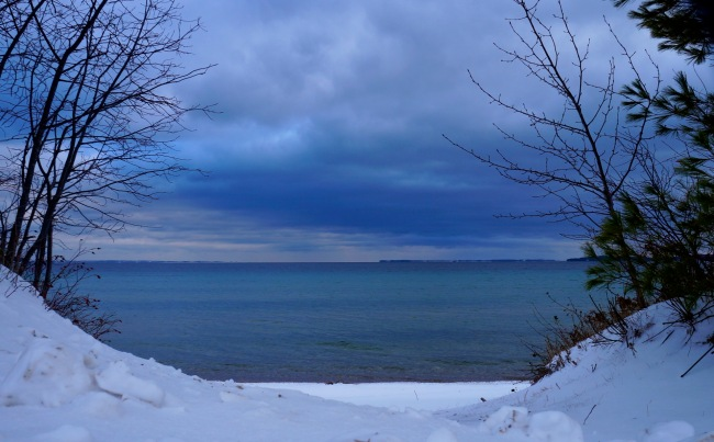 blue upon blue                              New Year's Day, 2016 -                              North Shore Road,            Northport, MI